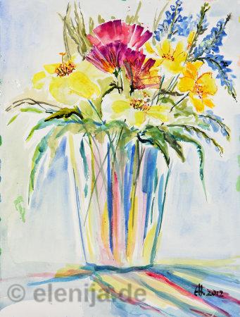 Blumenstrauß in Vase, von Elenija